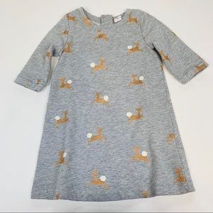 Baby Gap Dress Gray Gold Reindeer Holiday 3T
